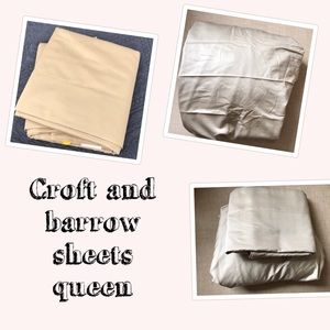 Queen flat and fitted sheet sheet beige new
